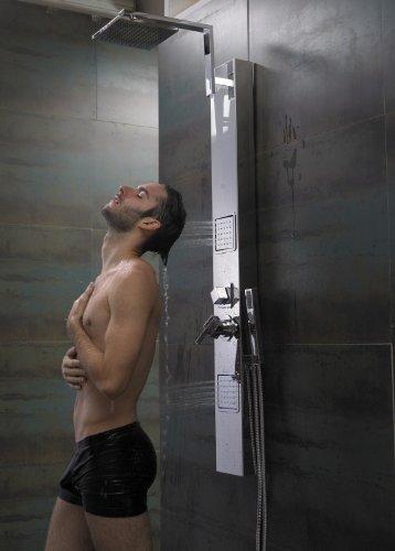 Sanlingo Edelstahl Duschpaneel Chrom Spiegel Massagedüsen Regendusche