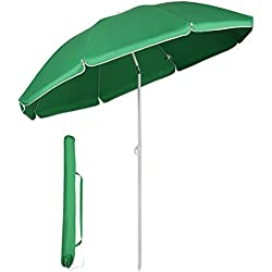 Sekey® Parasol Ø 160 cm inclinable pour Patio Jardin Balcon Piscine Plage Vert Rond Sunscreen UV20+