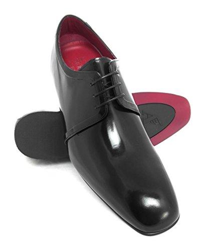 ZERIMAR Chaussures réhaussantes intérieur pour messieurs Augmentation + 7 cm Noir florantic cuir, respirant, confortable Noir