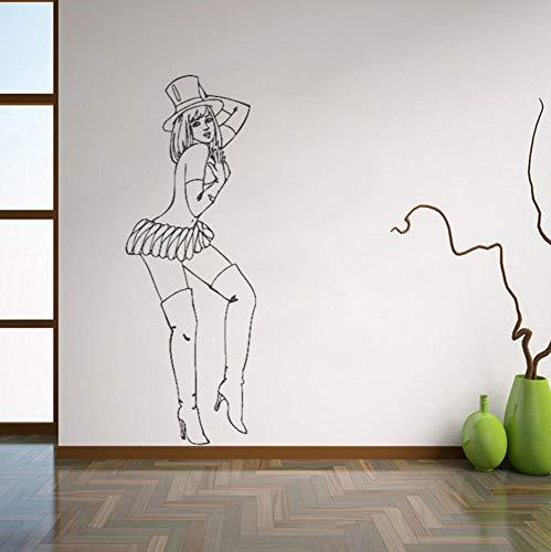 Dalxsh Retro Pin Up Girl Wandtattoos Schöne Frau Wandaufkleber Für Schlafzimmer Abnehmbare Kunstwandhaupt Decoraion 21x59 ()