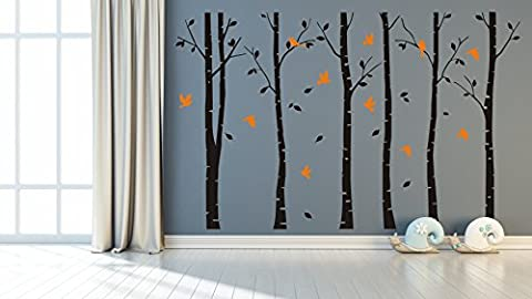 Vinyl Black Brich(Forest Theme)Wall Stickers by Masterly,Falling leaves and 6 Trees Removable Wall Decals Art,Livingroom Decorations