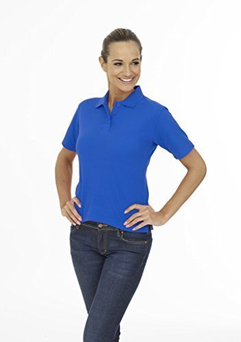 Donna Leisure Casual Tee Manica Corta Polo Sport Lavoro Workwear Royal Large