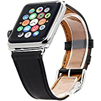 Ultra ® Nero Genuine qualità Orologio Bracciale cinturino in pelle per Apple IOrologi, Apple Watch Band Leather, pelle Band Bracciale Bracciale in pelle cinturino con adattatore genuino per Apple orologio (42 mm nero)