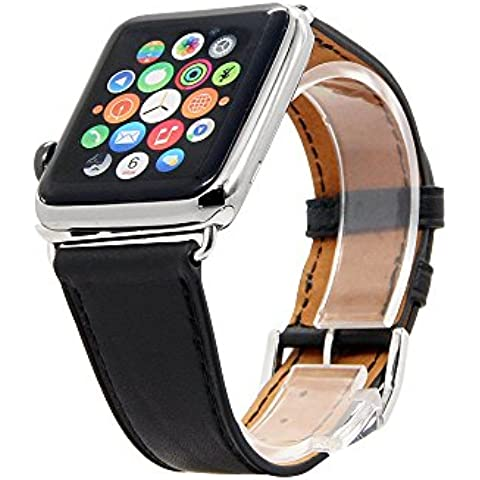 Ultra® Negro genuino calidad cuero reloj brazalete banda para Apple IRelojes, Apple Watch banda de cuero, genuino cuero banda brazalete pulsera cuero correa con adaptador para Apple reloj (42 mm