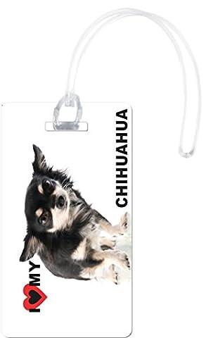 Rikki Knight I Love My Chihuahua Puppy Dog Flexi Luggage Tags, White