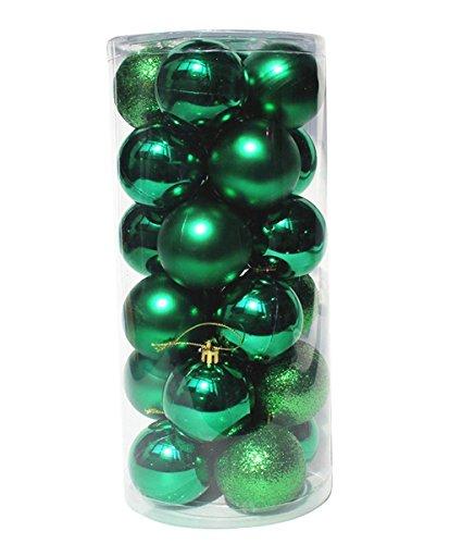 Coscelia Lot de 24 Boules de Noël Sapin de Noël Mats et Brillantes 4cm Ambiance Décoration Noël-Vert