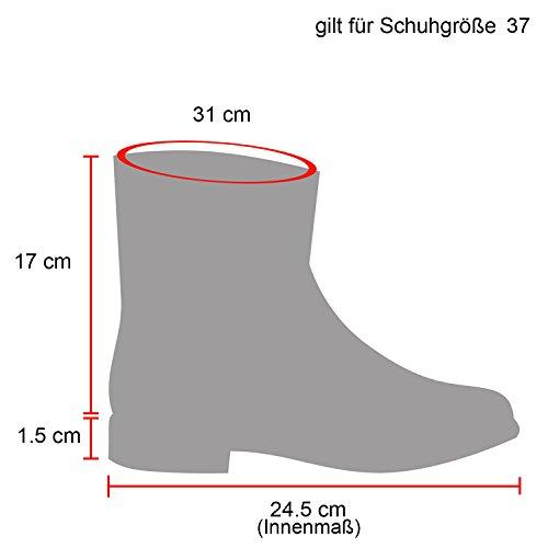 Stiefeletten Damen Schlupfstiefel Stiefel Flach Boots Nieten Leder-Optik Schlupfstiefeletten Schuhe...