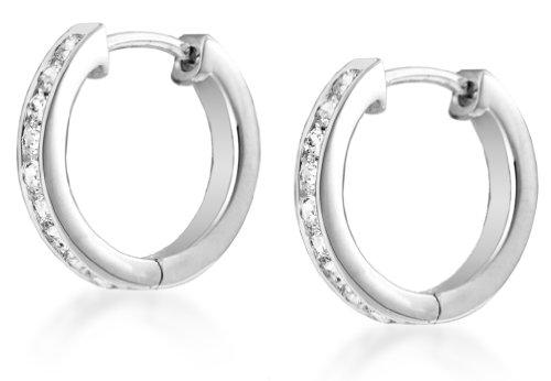 Tuscany Silver Women's Sterling Silver Cubic Zirconia 12 mm Huggy Earrings 8.58.2139