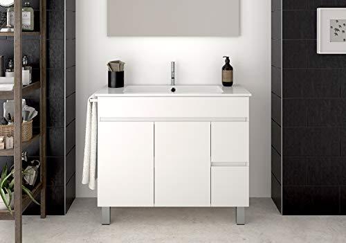DUCHA.ES Mueble DE BAÑO con Lavabo ENCIMERA y toallero Moderno Medidas (80CM,Blanco)