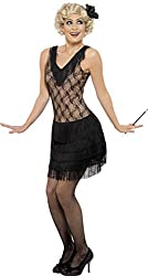 Smiffy's Women's All That Jazz Costume Dress and Hair Piece, Black, Large