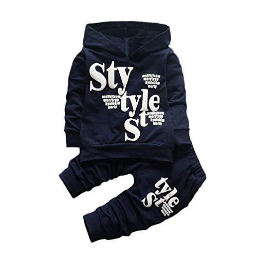 Feixiang® felpe neonato ragazzi bambino felpa con cappuccio maglione stampa di lettere a manica lunga pantaloni a due pezzi, a manica lunga tuta bambine cappotto giacca