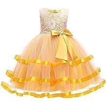 Longra Abito in Pizzo Senza Maniche da Bambino Ragazza Elegante Costume da  Principessa Tutu Partito Compleanno ec253d7ad10