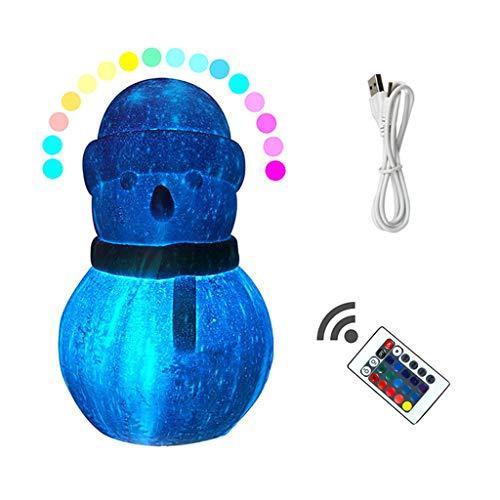 °nachtlicht 3D-Illusion Licht Schneemann Spielzeug Dekoration LED Moonlight 16 Farbe Fernbedienung USB-Netzteil-Partei-Dekoration-Lampen-Ausgang Geburtstags-Geschenk (Size : Small)