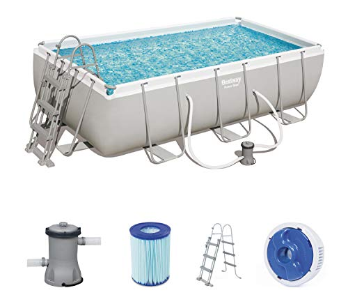 Bestway Power Steel Rectangular Frame Pool Set, Stahlrahmenpool Set mit Filterpumpe, 404 x 201 x 100 cm