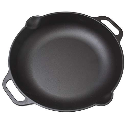 "Victoria SKL-313 Pre-Seasoned Cast Iron Skillet Round Paella Pan with Loop Handles, 100% Non-GMO Flaxseed Oil, 13"", Black"