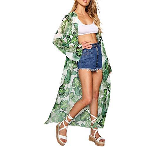 Streifen-kimono Top (Sannysis Damen Blumendruck Chiffon Kimono Sommer Boho Kimono Stil Gedruckt Tops Jacke Cardigan Blusen Bikini Cover Up Beachwear)