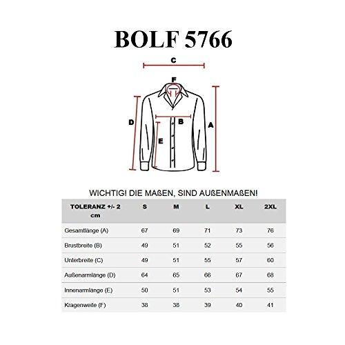 BOLF Herren Langarm Herrenhemd Figurbetont Freizeit Slim 5766 Schwarz