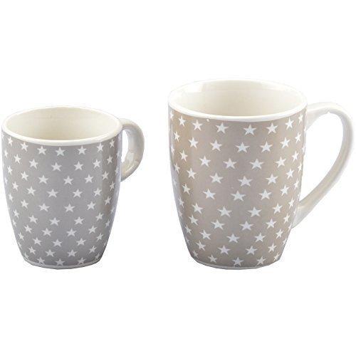 DRULINE Kaffeebecher Kaffeetasse Stern Herz Porzellan Tasse Kaffee (Klein, Stern (Grau))
