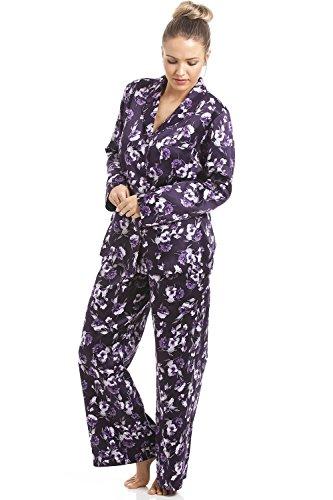 Camille - Pyjama pour femme - satin - motif floral - Violet Violet