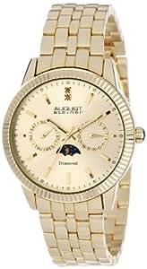 August Steiner - Homme - Swiss Quartz - Diamant - Multifonction - Cadran Or - Or - Bracelet Alliage