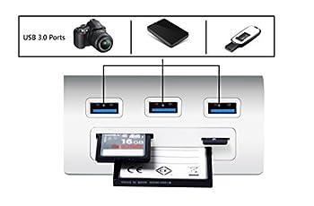 Alcey Aluminum Bus-powered Usb 3.0 3-port Hub With Multi-in-1 3-slots Card Reader Combo For Imac, Macbook Air, Macbook Pro, Macbook, Mac Mini, Pcs & Laptops 3