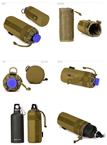 FLYHAWK Outdoor Sport Taktischer Nylon Molle System Trinkflasche Halter Flaschentasche Wasserkocher Tasche A001-Sandtarnung