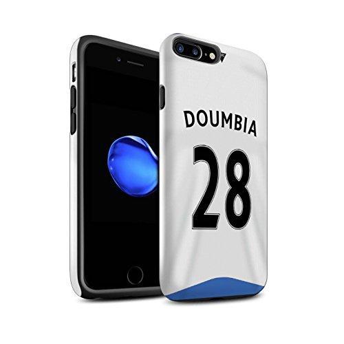 Offiziell Newcastle United FC Hülle / Glanz Harten Stoßfest Case für Apple iPhone 7 Plus / Rivière Muster / NUFC Trikot Home 15/16 Kollektion Doumbia