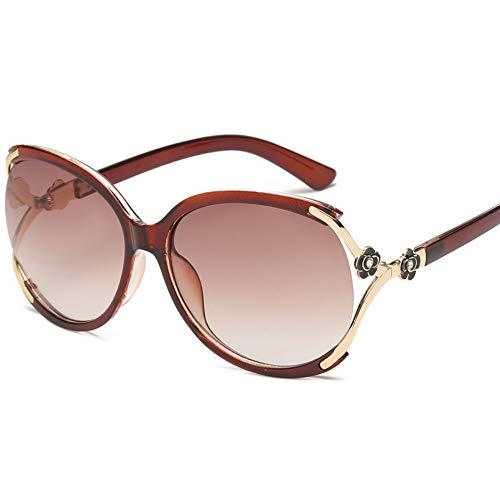 Modolady Metallgläser neue Kamelien-Sonnenbrillen Damenmode große gerahmte Diamant-Sonnenbrillen, Gradient-Tee -