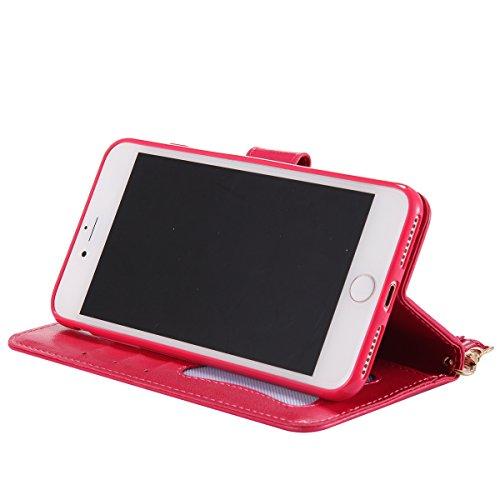 Custodia iPhone 7 Plus,Portafoglio Flip Cover per iPhone 7 Plus,Felfy Luminoso Effetto iPhone 7 Plus Custodia con Verde Cresce Nella Scuro, Premium Cuoio Embossed Ragazza e Cat Serie Case con Staffa P Ragazza,Rosa Rosso