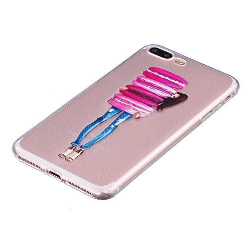 Coque iPhone 7 Plus,Coque iPhone 7S Plus, LuckyW Housse Etui TPU Silicone Clear Clair Transparente Gel Slim Case pour Apple iPhone 7/7s Plus(5,5 pouces) Soft de Protection Cas Bumper Cover Converture  Macaron