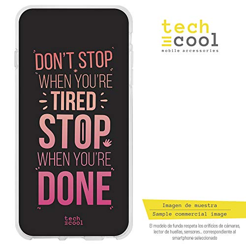 Funnytech Huawei P9 Hülle SchutzHülle Soft TPU Silikon Transparent für Huawei P9 l Case, Cover, Handy, High Definition Druck [Lettering Don't Stop Version rosa]