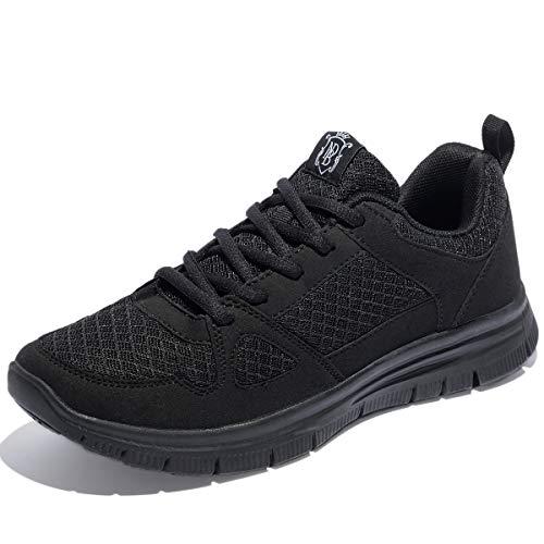 NewDenBer NDB Herren Leichtes Sneaker Sportschuhe Laufschuhe (44 EU, Schwarz (All Black))
