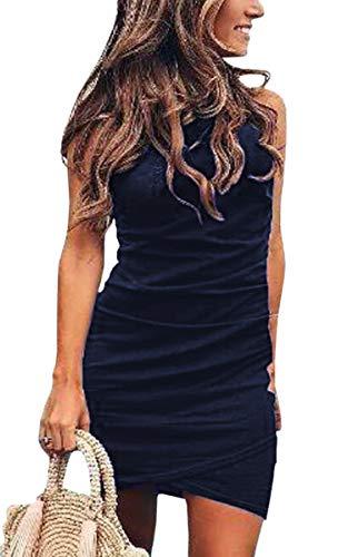ECOWISH Damen Enges Kleid Sommerkleid Rundhals Kurzarm Kleid Bodycon Unregelmäßig Minikleid 108Navy Blau S Womens Sexy Kurz Sommer Kleid