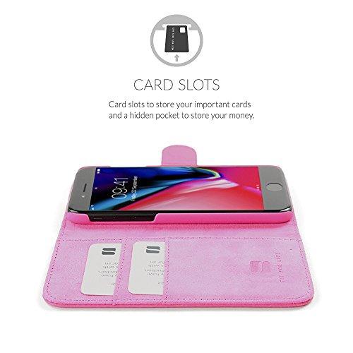 Cover iPhone 7 Plus and 8 Plus, Snugg Apple iPhone 7 Plus and 8 Plus Flip Custodia Case [Slot Per Schede] Pelle Portafoglio Progettazione Esecutiva [Garantita a Vita] - Rosso, Legacy Range Rosa