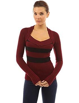 PattyBoutik Mujer 2 en 1 estilo suéter de cuello v