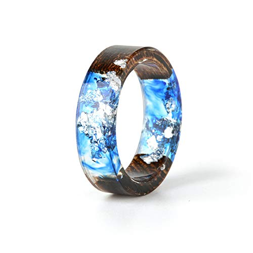 Homeofying Damen Handarbeit Vintage Retro Landhausstil Transparent Blau Grün Pink Holz Harz Trockene Blumen Pflanzen Fingerbänder Ring (Harz Blume Ringe)