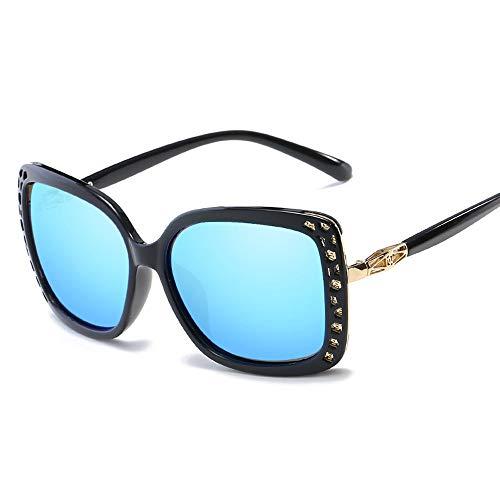 Easy Go Shopping Frauen-Weinlese-Art-große runde Rahmen-UV400 Objektiv-Schutz polarisierte Sonnenbrille für Sonnenbrillen und Flacher Spiegel (Color : Blau, Size : Kostenlos)