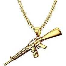Vnox Uomo oro 18K placcato in acciaio inossidabile della collana del pendente Mitraglietta gotici punk monili freddi,la catena libera