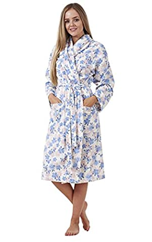 Ladies Cosy Printed Dressing Gown Winter Floral Print Warm Bath Robe