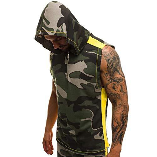 Celucke Herren Sport Tanktop Ärmelloses Hoodie Camouflage Fitness Gym Shirt Trägershirt mit Kapuze, Tank Tops Männer Jogging Muscleshirt Tankshirt Sommer Strand (Grün,S)