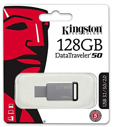 Kingston DT50 USB 3.0 Flash Drive 128GB mit schwarzem Kordel -