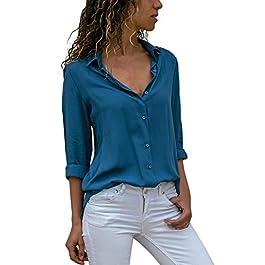 Realde Donna Camicia Scollo a V Magliette Manica Lunga Gatto Ricamo Camicia Lunga Orlare Irregolare Camicie con Bottone Elegante Casual Camicette Blusa Tops