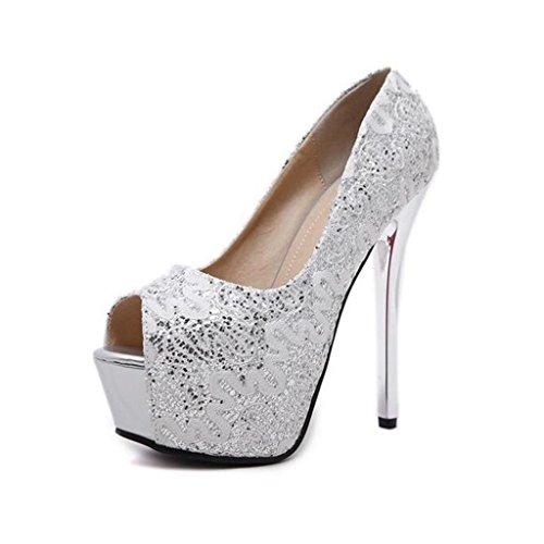 W&LM Signorina Tacchi alti sandali Pizzo paillettes Bocca di pesce Tacchi alti Piattaforma impermeabile Femmina sandali Silver
