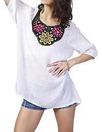 Amazon Es Bordado Para Flores Blusas Y Camisas Camisetas Tops
