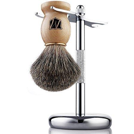 Miusco Premium 100% Pure Badger Hair Shaving Brush and Luxury Shaving Stand Set, Chrome Stand, Wooden Brush