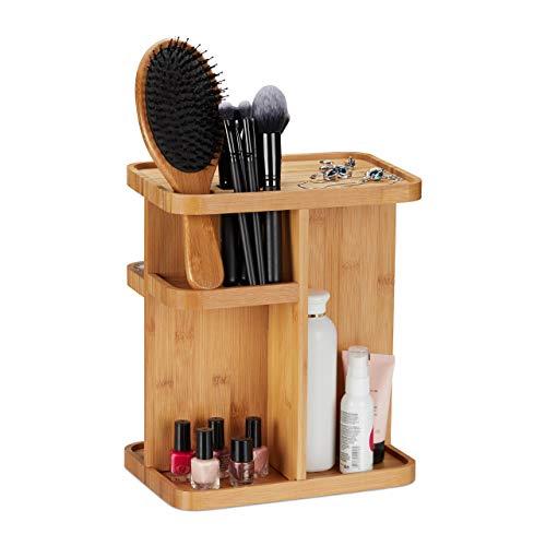 Relaxdays Make Up Organizer Bambus, drehbarer Kosmetik Organizer für Badezimmer & Schminktisch, HBT 31x25,5x18 cm, Natur -