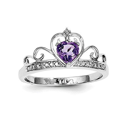 Sterling Teardrop Amethyst Rhodium Diamant Verchromt Silber Ring - Amethyst Teardrop Ringe