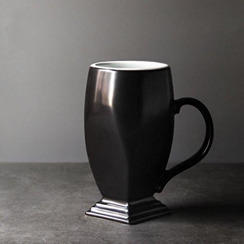Tasse de couleur unie tasse de modélisation de trophée créatif en céramique tasse de thé à la main tasse à café personnalisée tasses de couple (Color : Black)