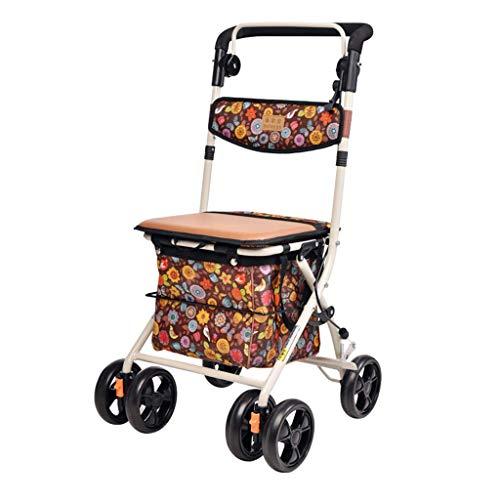 WYX Shopping Trolleys, Old Man Shopping Cart Folding Portable Trolley Can Sit Grocery Shopping Cart Falten + Manual Brake Shopping Bags & Baskets (Falten Cart Shopping)