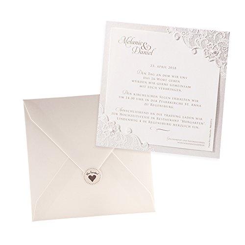 Klassische Einladungskarten Jana, 3 Stück, für die Hochzeit, Creme mit Flockdruck - blanko Hochzeitseinladungen mit Umschlag und weddix Siegeletikett
